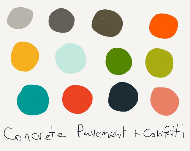 concrete pavement and confetti color palette