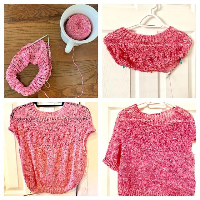 Progress shots of my summer Ranunculus knit using BC Garn Tussah Tweed in Peppermint