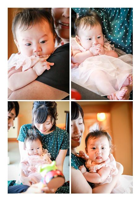 100日祝い ピンクのベビードレスを着た女の子赤ちゃん