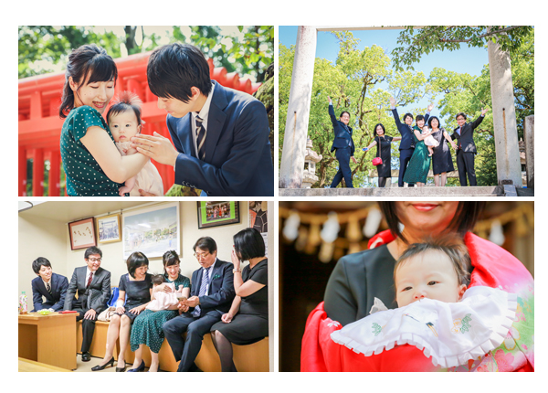 深川神社へ初宮参り 家族の集合写真 愛知県瀬戸市 夏(8月)