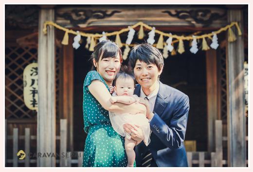 深川神社へ初宮参り 愛知県瀬戸市 ピンクのベビードレス