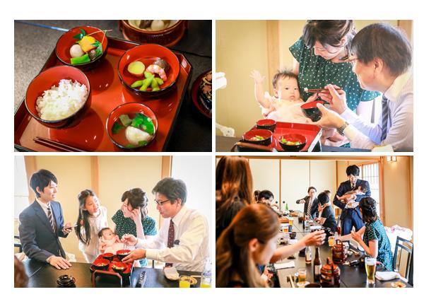 お食い初めの儀式 100日祝い 女の子用の祝い膳