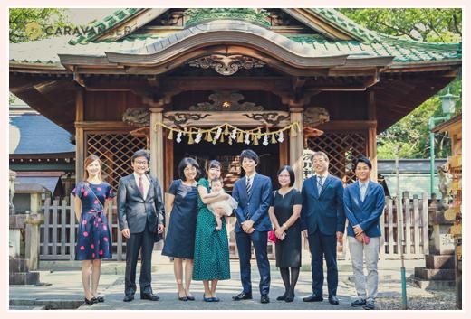 深川神社へ初宮参り 家族の集合写真 愛知県瀬戸市