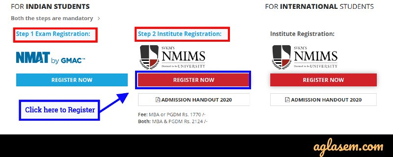 NMIMS admission 2020 registration