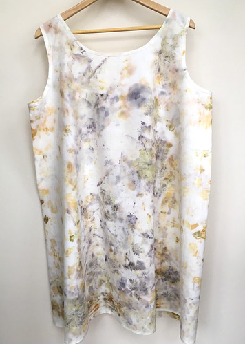 Eco printing on Japanese cross back apron
