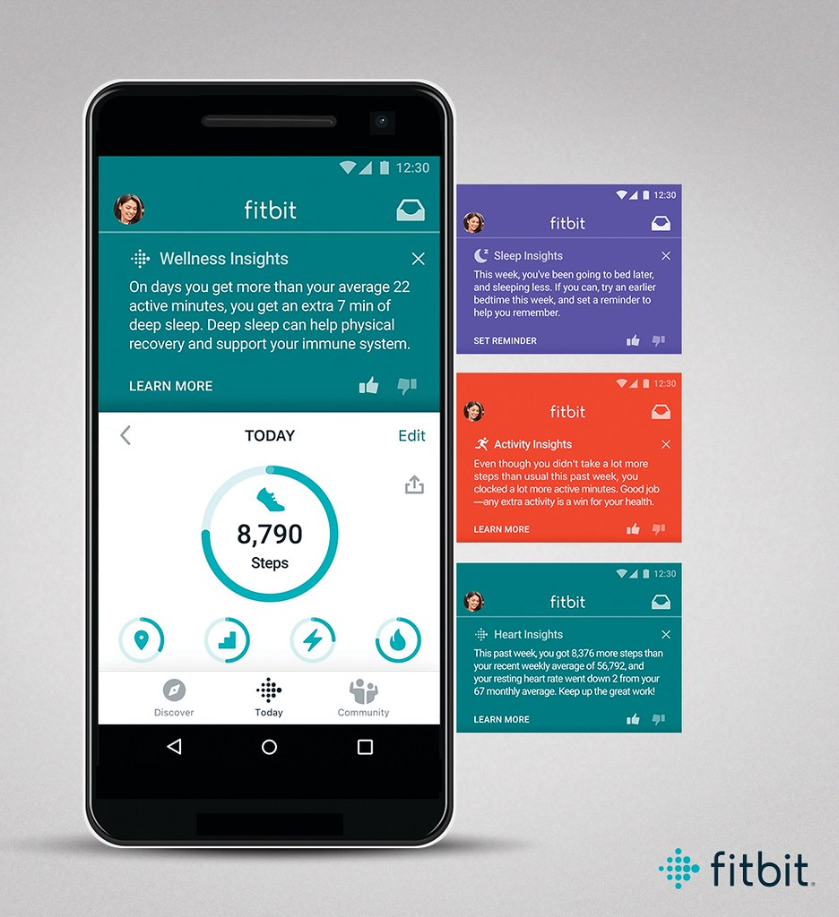 Pr Asset Of Fitbit Premium On Android, Showing Today Screen With Insights. For Placement Into Renders Or Lifestyle Imagery Only.