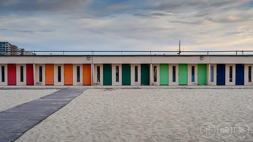beach beachhuts colours englishchannel france letouquet letouquetparisplage pasdecalais sand sunset