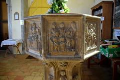 seven sacrament font: confession (15th Century)
