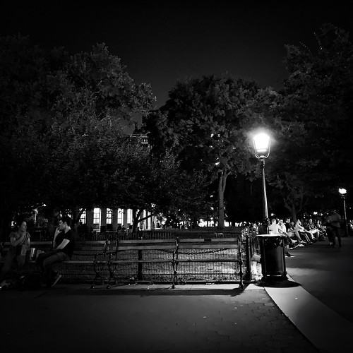 Evening chat in Washington Square Park