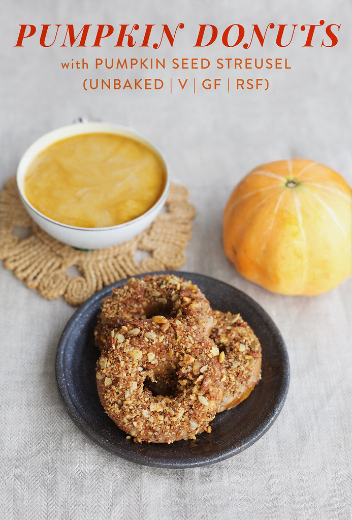 Pumpkin Spice Donuts with Pumpkin Seed Streusel (Unbaked, Vegan)