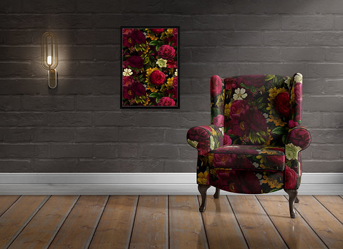 Antique Roses Fabric Pattern