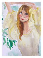 Kirsten Dunst - porter magazine watercolour 31/08/2019