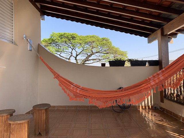 The Balcony of my Bedroom and Hammock, Our Villa, SCS, São Paulo , Brazil.