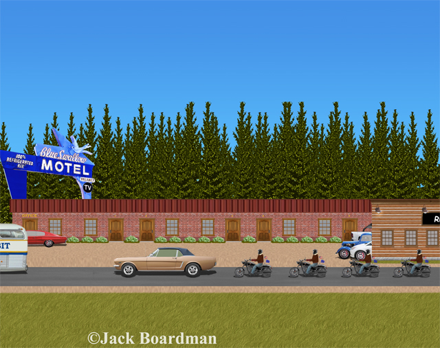 Keller & company arrived at the Blue Swallow Motel ©JBoardman