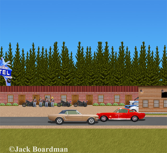 Boomer & Mac were passing the Blue Swallow Motel ©JBoardman