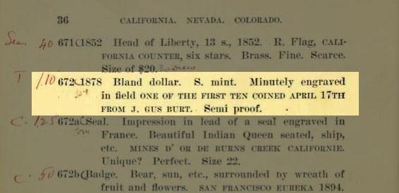 1878-s-one-of-first-struck 1910 Wertman catalog lot description