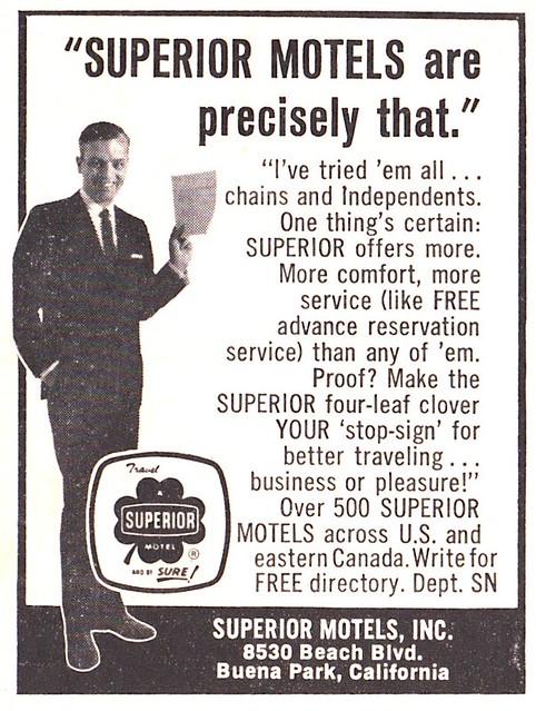Vintage Superior Motels Ad - Sunset Magazine - 1965