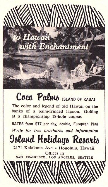 Vintage Ad - Coco Palms - Kauai - 1965