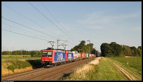 bornheim rhein nordrheinwestfalen deutschland kbs470 linkerheinstrecke güterzug goederentrein freighttrain klv sbb cargo traxx bombardier