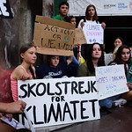 Students and climate justice activists gather with Greta Thunberg at the United Nations headquarters, Ralph Bunche Park and Dag Hammarskjold Plaza, New York, NY, Friday, August 30, 2019.