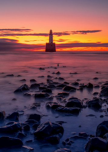 sunrise sunset rattrayhead lighthouse aberdeenshire scotland landscape longexposure red sky sea northsea