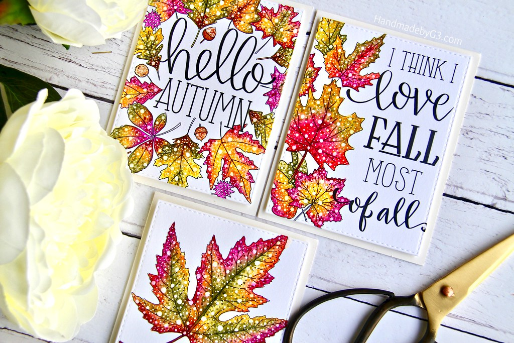 STAMPtember fall card set closeup1