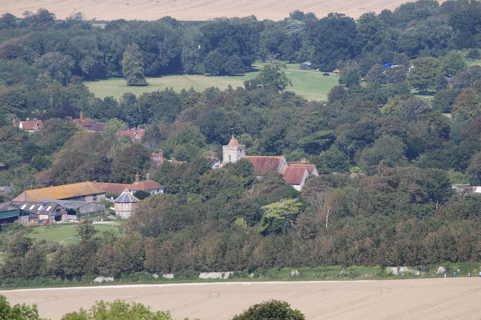 Village from the South Downs near Firle