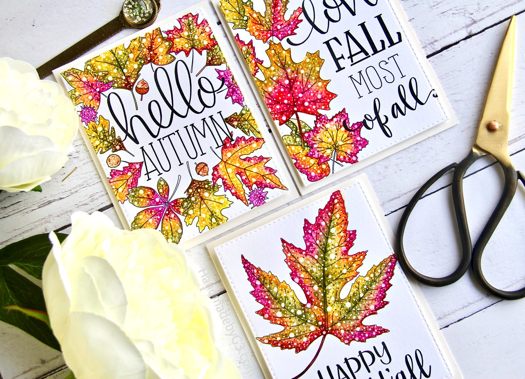 STAMPtember fall card set closeup