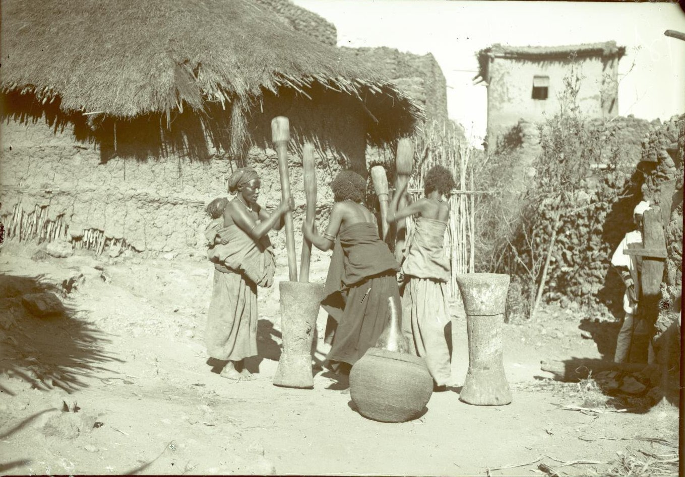 258. Абиссиния, провинция Харар, г. Харар. Харарианки за толчением кофе