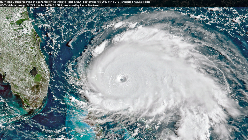 Hurricane Dorian reaching the Bahamas on its track to Florida, USA - September 1st, 2019 14.11 UTC