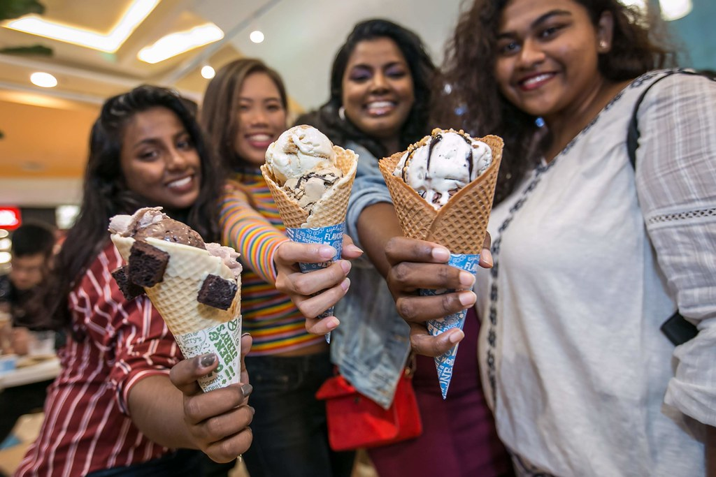 The Launch of Malaysia's First Ben & Jerry's Scoop Shop - Guests with their Ben & Jerry's Ice Cream