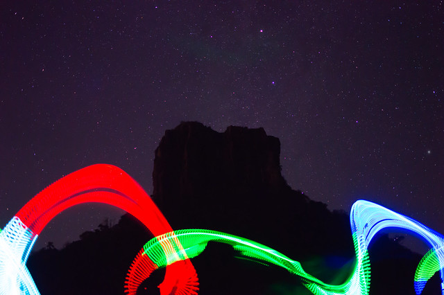 Light painting and the stars