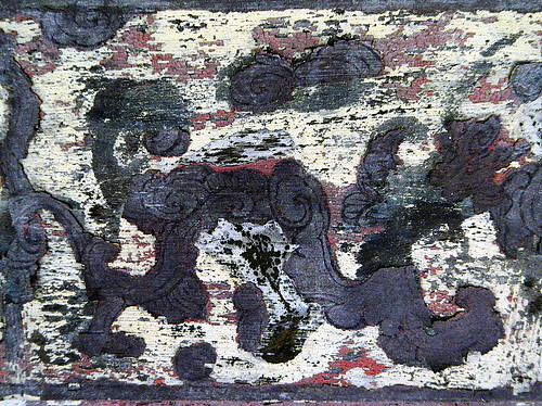 Texture on a painted wall at Tu Duc's royal tomb in Hue, Vietnam
