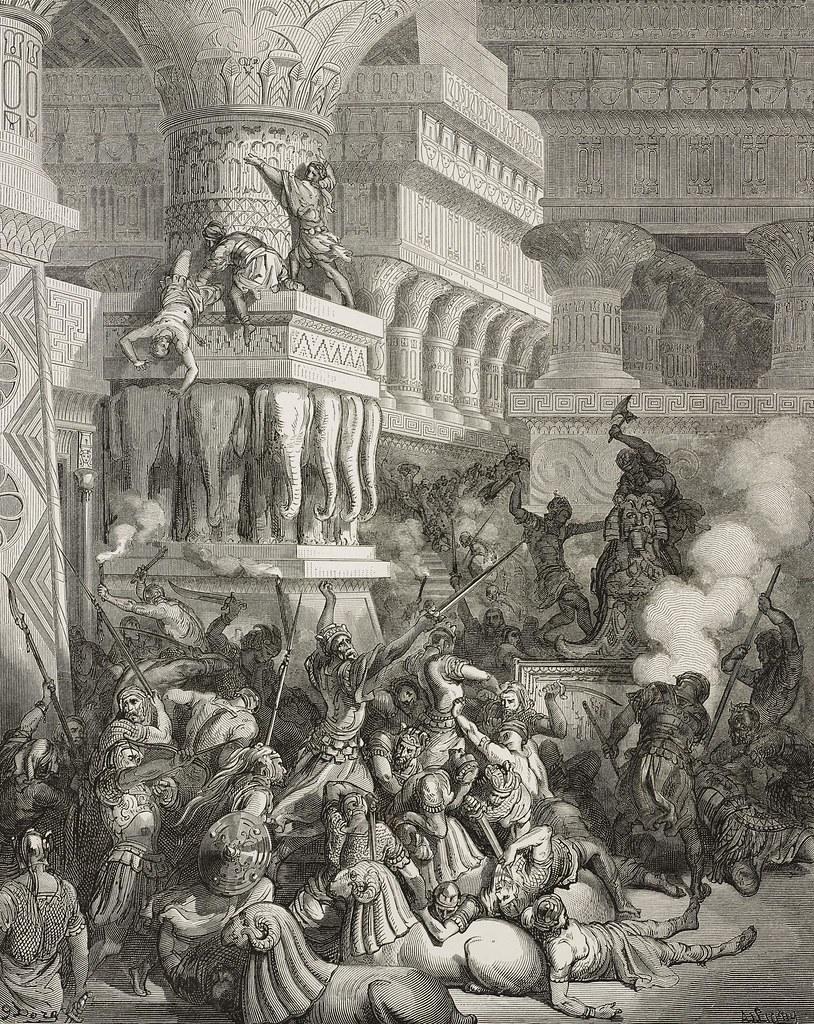 Разрушение Самсоном храма Дагона в Газе