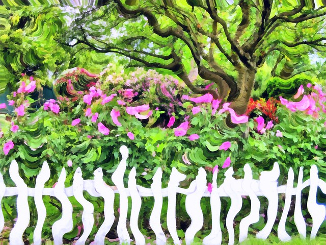 Real Picket Fence, Tree & Flowers Done in Painterly & Surreal Manner