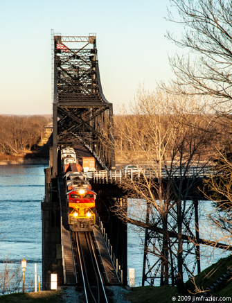 Kansas City Southern 4100 Eastbound Over the Mississippi River (redux)