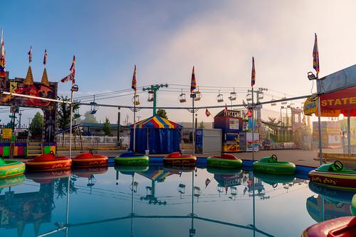 2019 bumperboats carnival desmoines iowa iowastatefair labels photograph amusementpark fog foggy morning pool ride skyride sunrise water unitedstatesofamerica