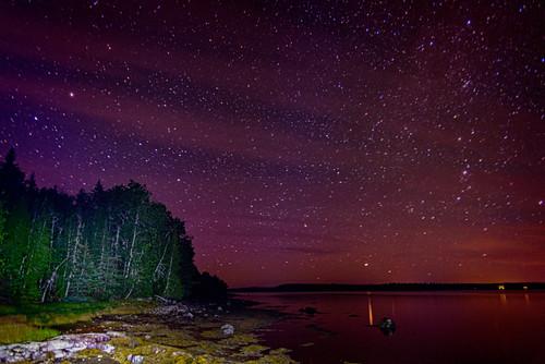 night usa hancockcounty binnshire bay auroraborealis longexposure ocean locationrecorded scenic lightpainting shoreline gouldsboro astrolandscape water photographictechnique maine northernlights