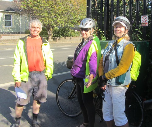 Clarion ride 1.9.19 - Jim, Angela and Corinne at Haywards Heath station
