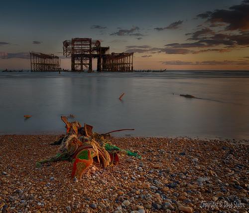 united kingdom uk england east sussex brighton beach sea pebbles pier ruins sunset golden hour panasonic lumix s1r 24105mm f dxo photolab nik hdr efex affinityphoto