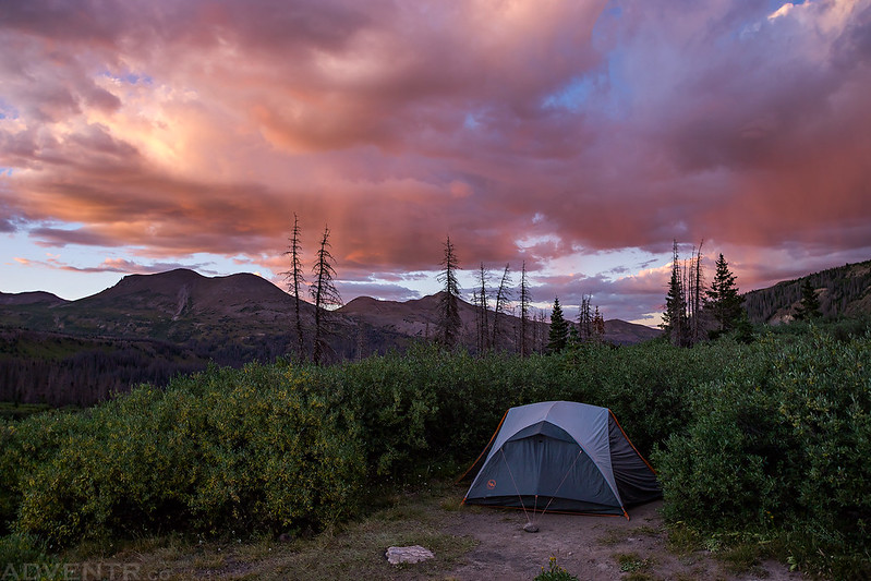 West Ute Lake Camp Sunset