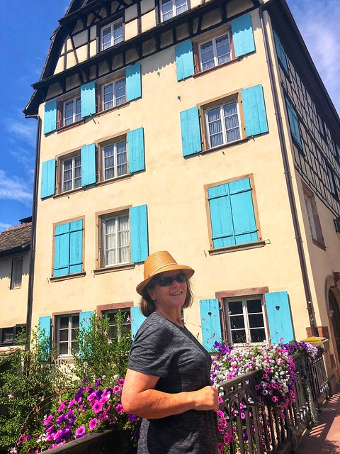 Nancy D. Brown Strasbourg House with Blue Shutters, France