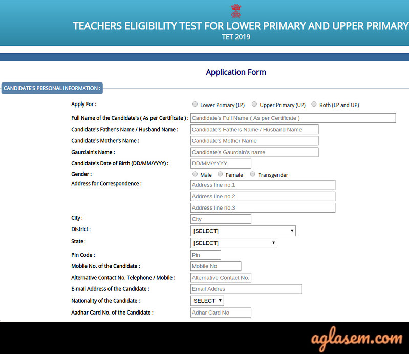 Assam TET Application: Personal Details
