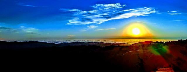 Sometimes over editing is fun. Sunset, Santa Cruz Mountains, San Mateo County, California.