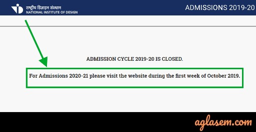 NID DAT 2020 - Notice (Out), Exam Date, Application Form