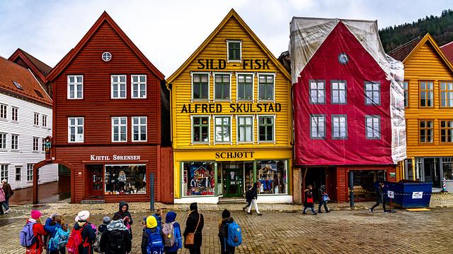 Ancient buildings of Bryggen (the dock) of the old harbor of Bergen, Norway-23