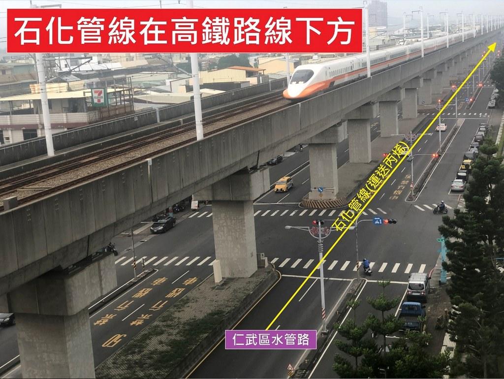 環團指出大社工業區石化管線就位在高鐵路線下方,石化管線不應穿越市區。圖片來源:大社環境守護聯盟