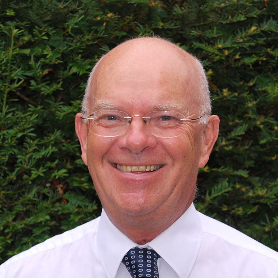 Photograph of David Sims smiling at the camera while stood in front a hedge.