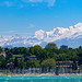 Geneva and Mont Blanc on a windy day