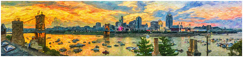 cincinnati cincy panoramic sunset riverfest cincinnatiriverfest impressionist ohioriver roebling suspension bridge johnaroeblingsuspensionbridge roeblingsuspensionbridge iphoneography iphonepanoramic